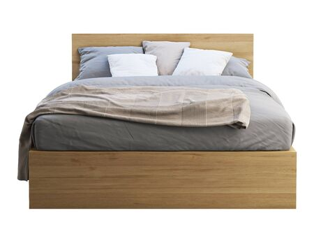 3d render of wooden double bed with storage on white background. Scandinavian interior. Bedding set