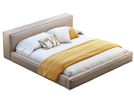 Loft double bed on white background. Leather upholstery base and headboard. Modern bed linen with blanket. 3d render