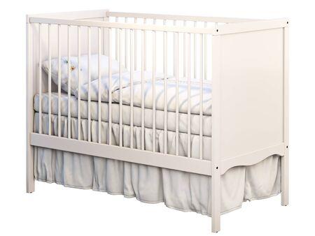 3D-Darstellung von weißem Babybett mit weißem Leinen auf weißem Hintergrund. Skandinavisches Interieur. Bettwäsche-Set