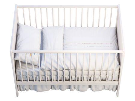 3D-Darstellung von weißem Babybett mit weißem Leinen auf weißem Hintergrund. Skandinavisches Interieur. Bettwäsche-Set Standard-Bild