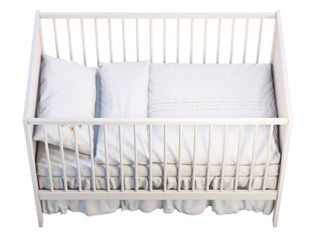 3d render of white baby cot with white linen on white background. Scandinavian interior. Bedding set