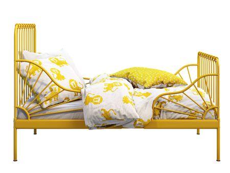 Łóżeczko jednoosobowe z metalową ramą w kolorze żółtym z kolorową pościelą na białym tle. Skandynawskie wnętrze. Pościel