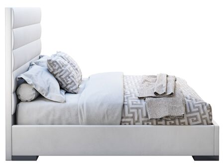 Modern double bed on white background. Leather upholstery frame and high headboard. Modern ornate bed linen and knitted plaid. 3d render Zdjęcie Seryjne