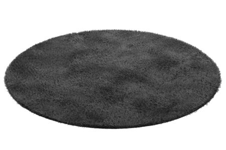 Modern round black rug with high pile on white background. 3d render Stock fotó - 138382995