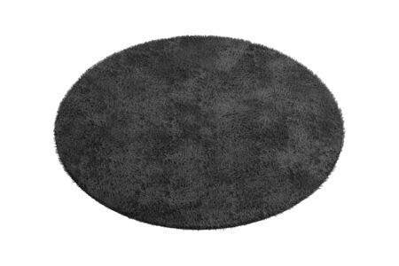 Modern round black rug with high pile on white background. 3d render