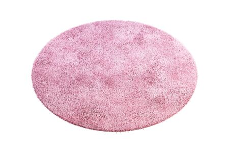 Modern round pink rug with high pile on white background. 3d render Stock fotó