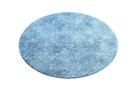 Modern round light blue rug with high pile on white background. 3d render