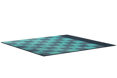 Modern rectangular green and blue rug with a checked pattern on white background. 3d render Stock fotó - 138383020