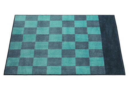 Modern rectangular green and blue rug with a checked pattern on white background. 3d render Stock fotó