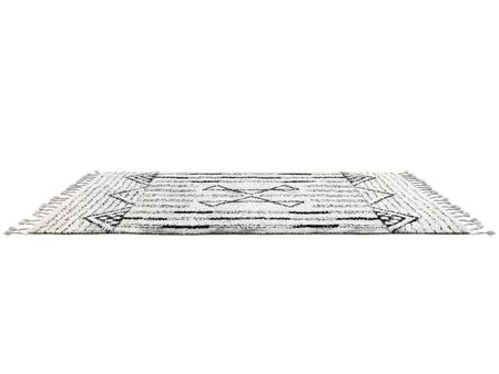 Scandinavian carpet with long pile and braids. Rug with ethnic geometric pattern on white background. 3d render Stock fotó