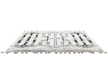 Scandinavian carpet with long pile and braids. Rug with ethnic geometric pattern on white background. 3d render Stock fotó - 138383097