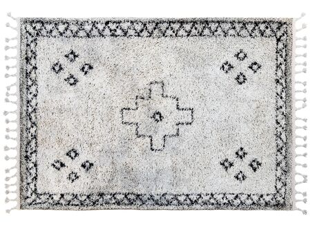 Scandinavian carpet with long pile and braids. Rug with ethnic geometric pattern on white background. 3d render