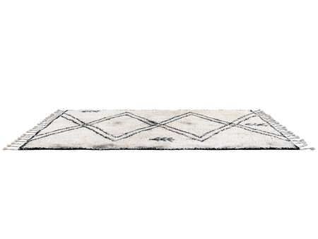 Scandinavian carpet with long pile and braids. Rug with ethnic geometric pattern on white background. 3d render Banco de Imagens