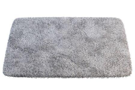 Modern rectangular light gray rug with high pile on white background. 3d render Stock fotó