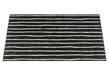 Modern rectangular black rug with a linear pattern on white background. 3d render Stock fotó - 138383108