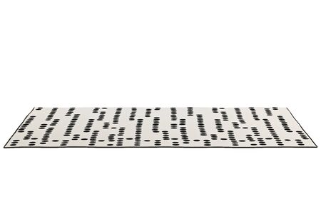 Modern rectangular beige rug with a dotted pattern on white background. 3d render