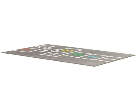 Modern rectangular gray rug with a hopscotch pattern on white background. 3d render