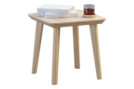 Modern brown wood rectangular coffee table with books and cup of tea on thin legs on white background. 3d render.