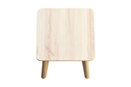 Modern brown wood rectangular coffee table on thin legs on white background. 3d render.