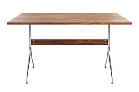 Mid century rectangular work table. Minimalistic work table with rectangular wooden tabletop and chromium legs on white background. 3d render Stock fotó - 138383120
