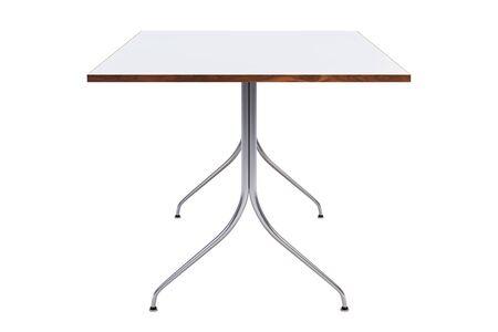 Mid century rectangular work table. Minimalistic work table with rectangular white tabletop and chromium legs on white background. 3d render