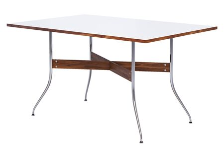 Mid century rectangular dinning table. Minimalistic dinning table with rectangular white tabletop and chromium legs on white background. 3d render