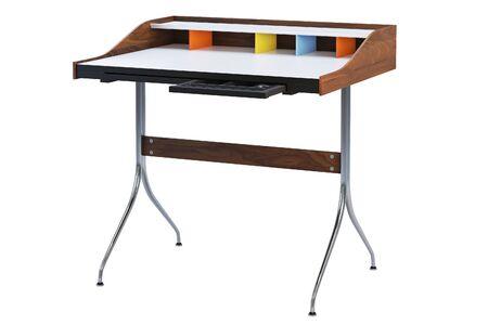 Prostokątny stół roboczy z połowy wieku ze schowkiem. Minimalistyczny stół roboczy z prostokątnym drewnianym blatem i chromowanymi nogami na białym tle. renderowania 3D