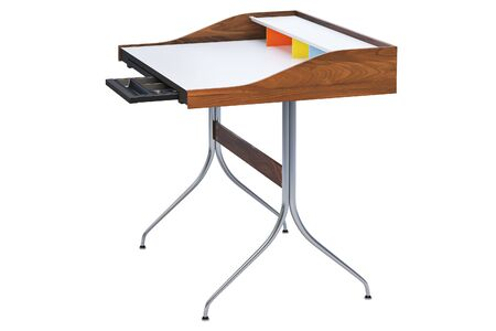 Mid century rectangular work table with storage. Minimalistic work table with rectangular wooden tabletop and chromium legs on white background. 3d render