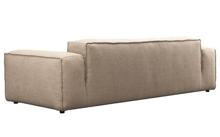Modern light beige fabric three-seat sofa. Textile upholstery sofa on white background. 3d render Banque d'images