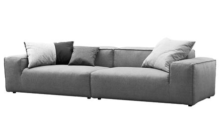 Modern gray fabric modular sofa. Textile upholstery sofa with pillows on white background. 3d render Stock Photo