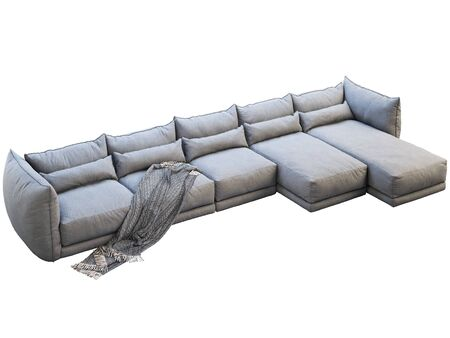 Modern huge gray corner leather sofa with chaise lounge. Fabric upholstery sofa with pillows and plaid on white background. 3d render Stock Photo