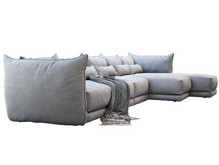 Modern huge gray corner leather sofa with chaise lounge. Fabric upholstery sofa with pillows and plaid on white background. 3d render