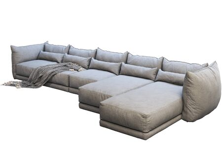 Modern huge gray corner leather sofa with chaise lounge. Fabric..