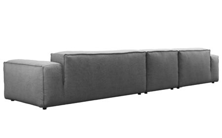 Modern dark gray fabric corner sofa. Textile upholstery modular sofa on white background. 3d render
