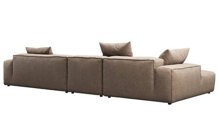 Modern beige fabric corner sofa. Textile upholstery modular sofa with pillows on white background. 3d render