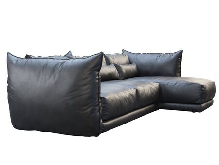 Modern black three-seat corner leather sofa. Leather upholstery sofa with pillows on white background. 3d render
