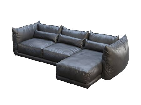 Modern black three-seat corner leather sofa. Leather upholstery sofa with pillows on white background. 3d render Stock Photo