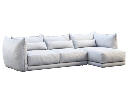 Modern white three-seat corner leather sofa. Leather upholstery sofa with pillows on white background. 3d render 写真素材