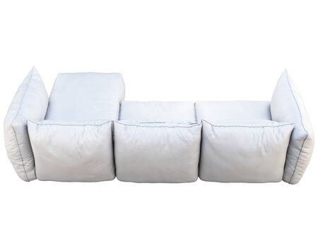Modern white three-seat corner leather sofa. Leather upholstery sofa with pillows on white background. 3d render Stock Photo