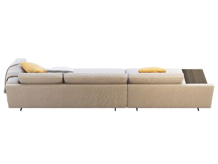 Modern beige fabric modular sofa with coffee table. Textile upholstery modular sofa with pillows and knitted plaid on white background. 3d render