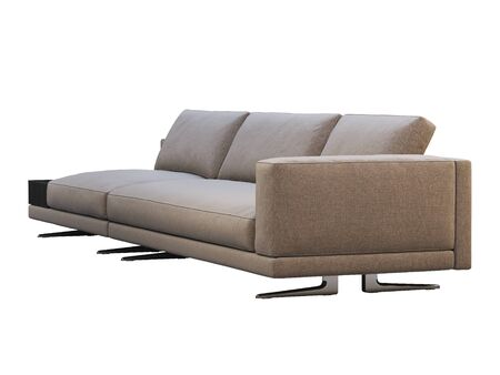 Modern brown fabric modular sofa with coffee table. Textile upholstery modular sofa on white background. 3d render