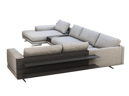 Modern gray fabric corner sofa with chaise lounge. Textile upholstery modular sofa with coffee table and bookshelf on white background. 3d render