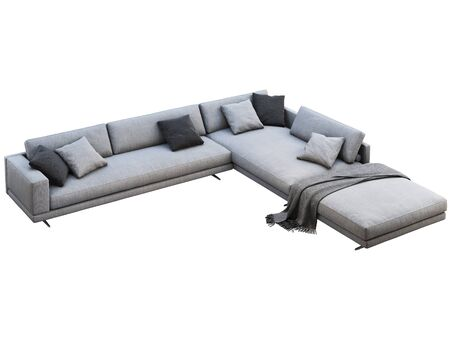 Modern gray fabric corner sofa. Textile upholstery modular sofa with pillows and knitted plaid on white background. 3d render