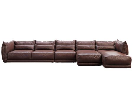 Modern huge brown corner leather sofa with chaise lounge. Leather..