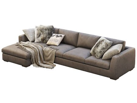 Chalet modular leather sofa with chaise lounge. Leather upholstery corner sofa with pillows and plaid on white background. Mid-century, Loft, Chalet, Scandinavian interior. 3d render