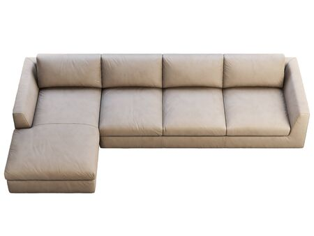 Chalet modular leather sofa with chaise lounge. Leather upholstery corner sofa on white background. Mid-century, Loft, Chalet, Scandinavian interior. 3d render 写真素材