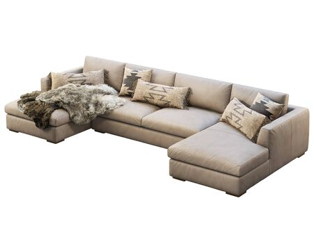 Chalet modular leather sofa with chaise lounge. Leather upholstery corner sofa with pillows and pelts on white background. Mid-century, Loft, Chalet, Scandinavian interior. 3d render