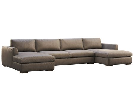 Chalet modular leather sofa with chaise lounge. Leather upholstery corner modular sofa on white background. Mid-century, Loft, Chalet, Scandinavian interior. 3d render