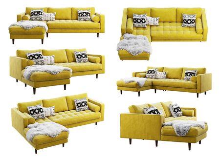 Sofá de tela escandinavo de esquina. Sofá chaise lounge de tapicería de terciopelo con almohadas y piel sobre fondo blanco. Mid-century, loft, chalet, interior escandinavo. Render 3D. Collage Foto de archivo