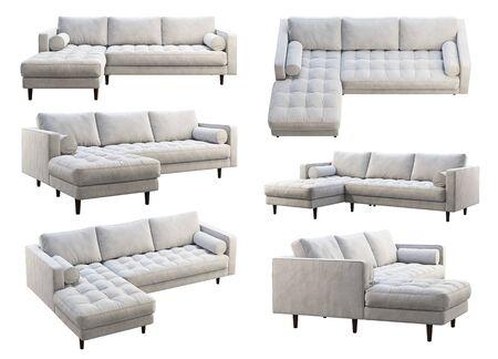 Sofá de tela de esquina de mediados de siglo. Sofá chaise lounge de tapicería de terciopelo sobre fondo blanco. Mid-century, loft, chalet, interior escandinavo. Render 3D. Collage